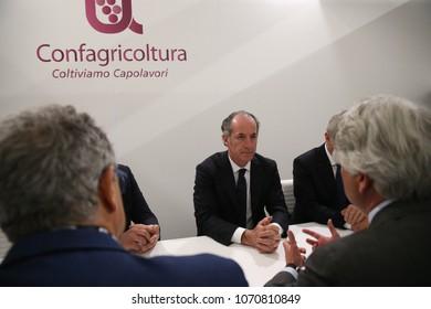 """Verona,Italy,15/04/2018 Politicians visit Vinitaly Expositions"