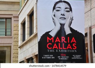 VERONA,ITALY-17.APRIL,2016: Billboard poster for Maria Callas opera concert
