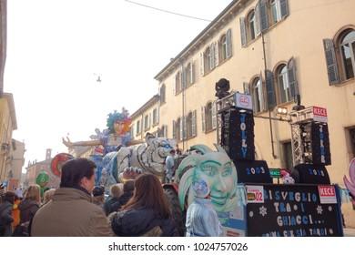 VERONA,ITALY-FEBRUARY 2018:chariots and masks parade during Carnival of Verona city in February 2018