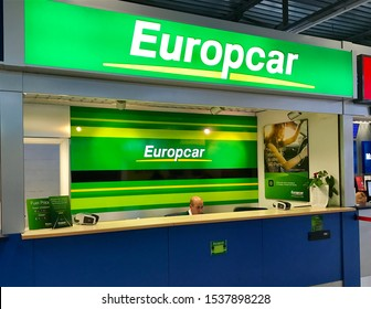 Verona,Italy/October 19,2019: The Europcar counter in the airport. Europcar Mobility Group is a French car rental company operates in 140 countries.