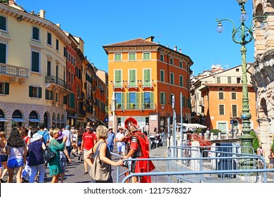 Verona,Lombardy/Italy-July 19 2018 Arena di Verona, Verona Arena-Roman amphitheatre in Piazza Bra in Verona, Italy built in the first century, famous for the large-scale opera performances today