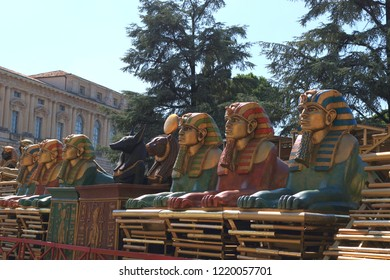 Verona,Veneto/Italy-July 18 2018:Props from the Aida set on display during The Arena di Verona Festival-a summer festival of opera,on display at Piazza Bra in front of Comune di Verona-the City Hall