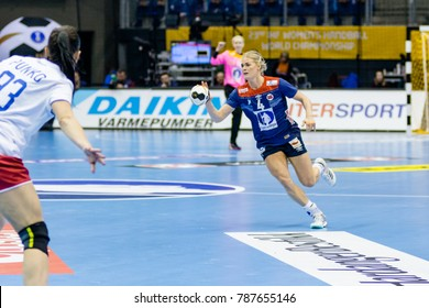 Veronica Kristiansen in attack for Norway during women handball game between  Norway and  Russia at IHF World Championship,  Germany 2017 - Quarter Finals, Magdeburg on 13.12.2017