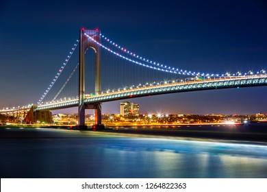 Verrazzano Narrows Bridge by night, as viewed from Staten Island, NY