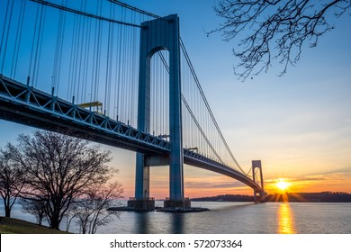 Verrazzano-Narrows bridge in Brooklyn and Staten Island at sunset