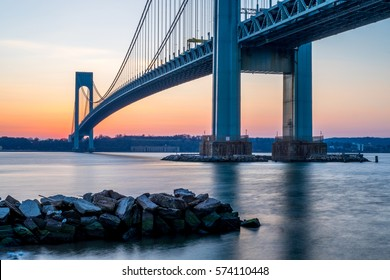 Verrazzano-Narrows bridge in Brooklyn and Staten Island shortly after sunset