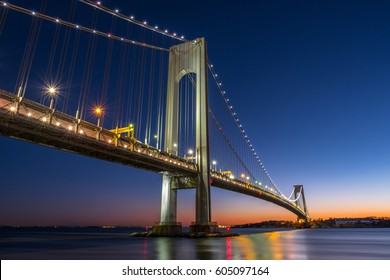 Verrazzano-Narrows bridge in Brooklyn and Staten Island, NYC after sunset