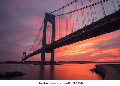 Verrazzano-Narrows bridge in Brooklyn and Staten Island in New York at sunset