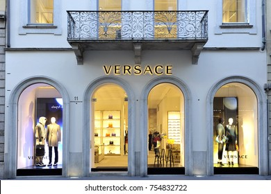 Versace boutique in Milan on november 2017 -  Versace is an Italian fashion company and trade name founded by Gianni Versace in 1978 - Montenapoleone road