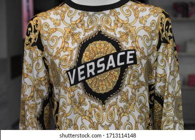 Versace company logo on t-shirt in outlet city Metzingen, Germany 24 Apr 2020
