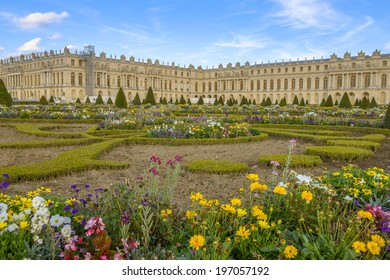 Versailles Chateau and gardens view near Paris, France