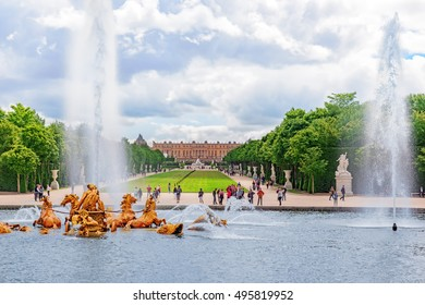 VERSAILLES, FRANCE - 02, JULY 2016 : Fountain of Apollo in a beautful and Famous Gardens of Versailles (Chateau de Versailles). France.