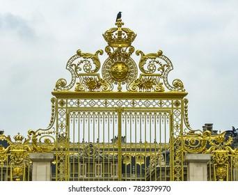 Versailles, France - 05/10/2010 - Versailles, France - Palace of Versailles Entrance Gate Detail