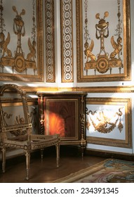 Versailles, France - 10 August 2014 : Wooden room with gold ornament at Versailles Palace ( Chateau de Versailles ). It was added to the UNESCO list of World Heritage Sites.
