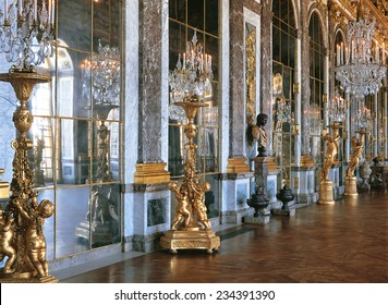 Versailles, France - 10 August 2014 : Hall of mirrors at Versailles Palace ( Chateau de Versailles ). It was added to the UNESCO list of World Heritage Sites.