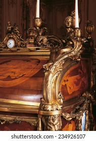 Versailles, France - 10 August 2014 : Detail of furniture at Versailles Palace ( Chateau de Versailles ). It was added to the UNESCO list of World Heritage Sites.
