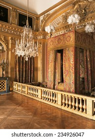 Versailles, France - 12 August 2014 : King Louis XIV bedroom at Versailles Palace ( Chateau de Versailles ). It was added to the UNESCO list of World Heritage Sites.