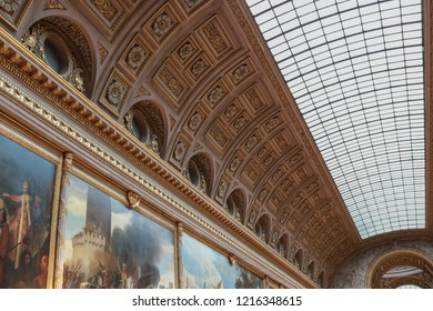 VERSAILLES, FRANCE -23 OCTOBER 2018 : Beautiful arched ceiling of the gallery of battles in the Versailles Palace. Versailles, France.