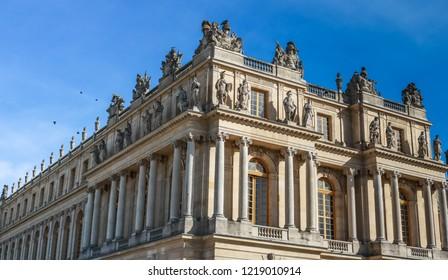 VERSAILLES, FRANCE -23 OCTOBER 2018 : Southern facade of the Palace of Versailles. Versailles, France.
