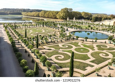 VERSAILLES, FRANCE -23 OCTOBER 2018 : Original plant pattern in the park of Versailles. France.