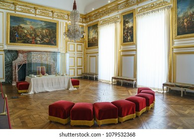 VERSAILLES, FRANCE - APRIL 08, 2018: Interiors and details of the royal apartments of Versailles, near Paris, France