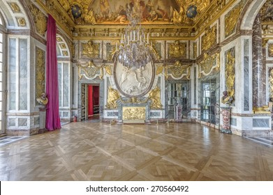 VERSAILLES, FRANCE - APRIL 18, 2015 : The war room (salon de la guerre) in the central wing of Palace of Versailles, the residence of the sun king Louis XIV.