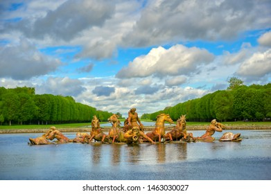 Versailles, France - April 24, 2019: Fountain of Apollo in the garden of Versailles Palace on a sunny day outside of Paris, France.