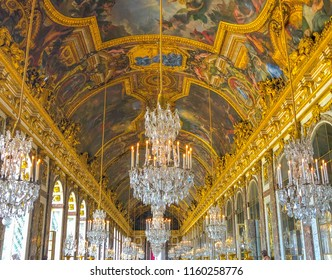 Versailles / France - April 7 2018: View of the hall of mirrors in Versailles