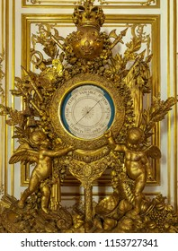 Versailles / France - April 9, 2018: Louis XIV Clock from Private Apartments at Versailles Palace