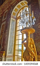 VERSAILLES, FRANCE - AUGUST 14, 2015 - Statue in the Hall of Mirrors in the Chateau de Versailles (Palace of Versailles)