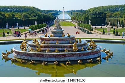 Versailles / France - August 2016: Bassin de Latone in Château de Versailles gardens.