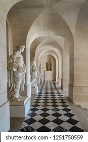 Versailles, France - august 6 2017 Corridor with marble statues in the Palace of Versailles