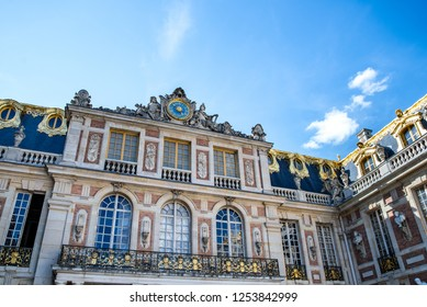 Versailles, France - august 6 2017 :  The facade of the palace of Versailles.
