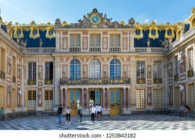 """Versailles, France - august 6 2017 :  The """"Cour de Marbre"""" facade of the palace of Versailles."""