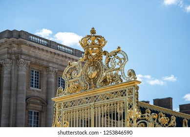 Versailles, France - august 6 2017 :  view of the Palace of Versailles golden gate entrance.
