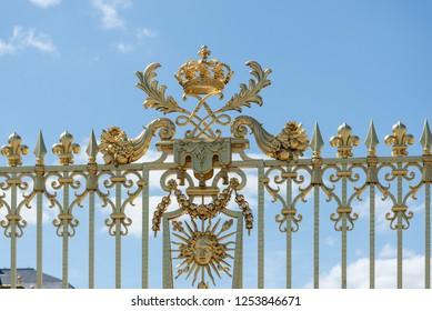 Versailles, France - august 6 2017 :  Palace of Versailles golden gate close up.
