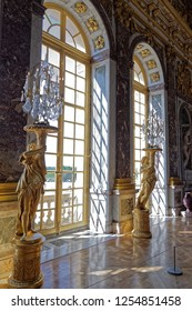 Versailles, France - august 6 2017 : Sculptures in the hall of mirrors of the Palace of Versailles