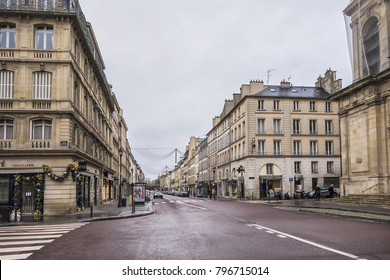 VERSAILLES, FRANCE - JANUARY 13, 2018: Picturesque street view in the city center of Versailles.