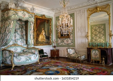VERSAILLES, ÎLE-DE-FRANCE  / FRANCE - JANUARY 14, 2020: The chambre de Madame Victoire inside the Palace of Versailles was the principal royal residence of France from 1682 to 1789.