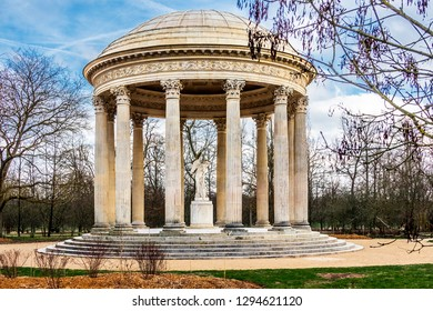 VERSAILLES, FRANCE - January 16, 2019. Hamlet of the Queen. The Temple of Love 1777-1778, by the architect Richard Mique, located in the garden of the Petit Trianon.