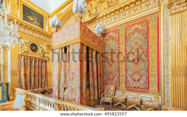 VERSAILLES, FRANCE - JULY 02, 2016 : King's Bedroom, created in 1701 where  lived Louis XIV until his death in 1715. Chateau de Versailles.