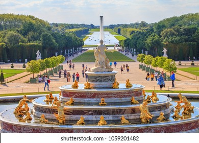 Versailles, France - July  06 2017 : Latona fountain in the park of the palace of Versailles