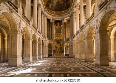 Versailles, France - July 15, 2013 : Great Hall Ballroom in Versailles Palace with a huge organ. Versailles Palace and surrounding gardens is are on the UNESCO World Heritage List in Paris, France.