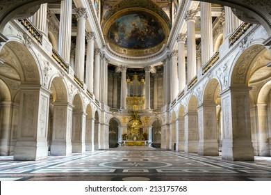 Versailles, France - JUN 20: Interior of royal chapel at Chateau de Versailles (Palace of Versailles) on June 20, 2014, France. Versailles palace is in UNESCO World Heritage Site list since 1979.
