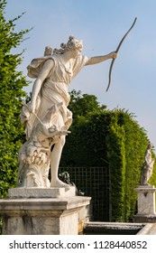 VERSAILLES, FRANCE - June 10, 2018: Beautiful statue at Latona Fountain in the Garden of Versailles in France.
