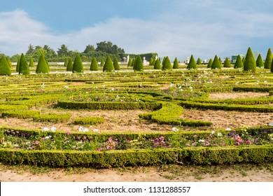 VERSAILLES, FRANCE - June 10, 2018: Beautiful gardens, statues in Latona Fountain in the Garden of Versailles in France.