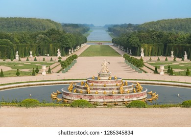 VERSAILLES, FRANCE - June 10, 2018: Beautiful Latona Fountain in the Garden of Versailles in France.