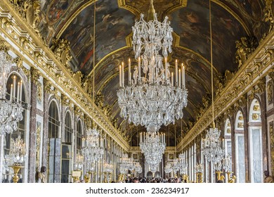 VERSAILLES, FRANCE - JUNE 12, 2012: Interior of Chateau de Versailles (Palace of Versailles) near Paris. Palace Versailles was a royal chateau. It was added to UNESCO list of World Heritage Sites.