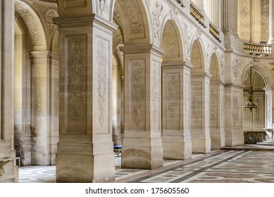 VERSAILLES, FRANCE - JUNE 19, 2013: Interior of Chateau de Versailles (Palace of Versailles) near Paris on June 19, 2013, France. Versailles palace is in UNESCO World Heritage Site list since 1979.