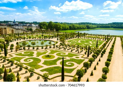 Versailles, France - May 18, 2014: Gardens of the Versailles Palace near Paris, France.
